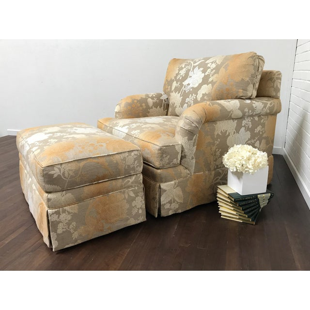 "Custom built lounge chair and ottoman set with a beautiful floral fabric from Italy. Made by RJones. Seat height 20""...."