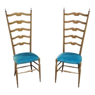 1950's Italian Exaggerated Ladder Back Chairs - a Pair For Sale