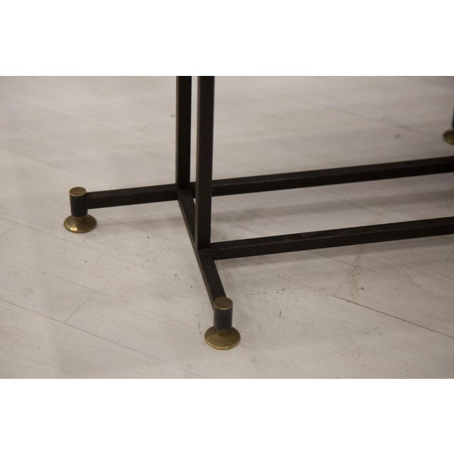 Brass Onyx Coffee Table With Brass Inlay and Iron Base For Sale - Image 7 of 8