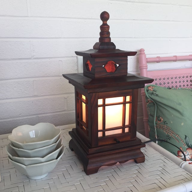 Antique Carved Wood Asian Chinoiserie Pagoda Lantern Light Lamp For Sale - Image 5 of 11