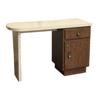 Counter Style Veneer & Wood Desk For Sale