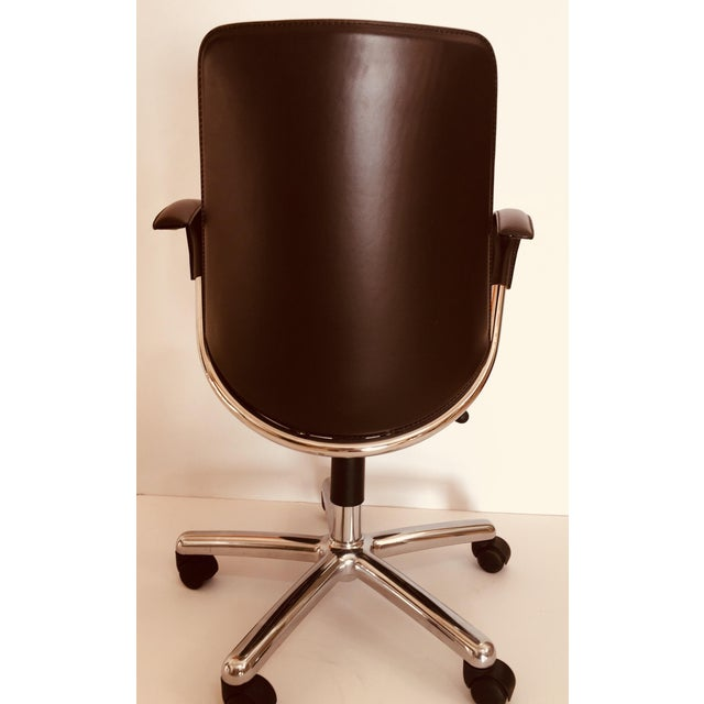 """""""Luna"""" Brown Leather Office Chair by Martino Perego for Fasem For Sale In Los Angeles - Image 6 of 13"""