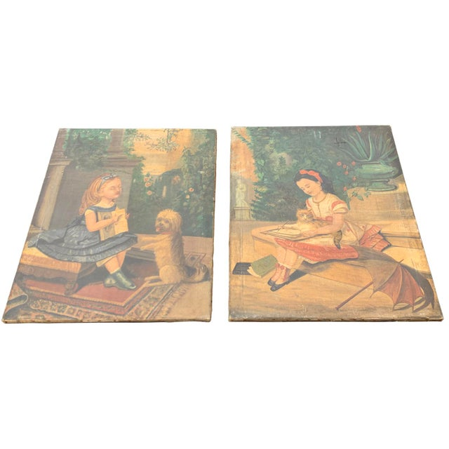 """Set of two Danish folk art paintings - """"Learning to Read and to Write"""" with a dog and a cat. Made in the mid 19th century."""