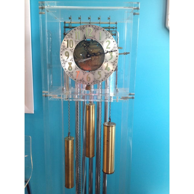 Vintage Lucite Grandfather Clock For Sale - Image 4 of 4