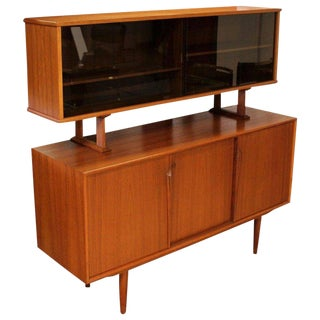 1950s Mid-Century Modern 2-Tier Teak Credenza Floating Hutch For Sale