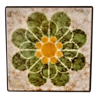 Vintage 70s Floral Tile Hot Plate For Sale