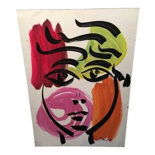Original Peter Keil Large Colorful Portrait Painting For Sale