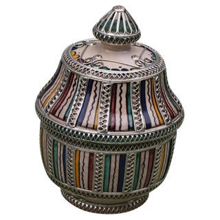 Moroccan Ceramic Lidded Bowl W/ EngravingS For Sale