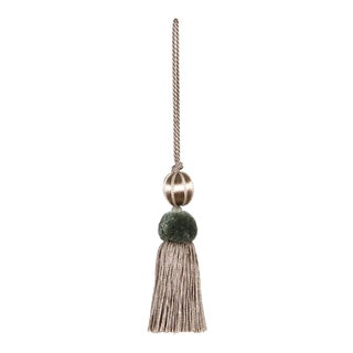 Merrivale Sage & Taupe Beaded Key Tassel For Sale