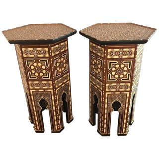 Pair of Tall Syrian End Tables Pedestals Stackable For Sale