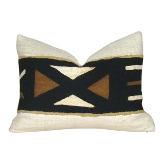 Vintage African Mudcloth Geometric Lumbar Pillow Cover For Sale