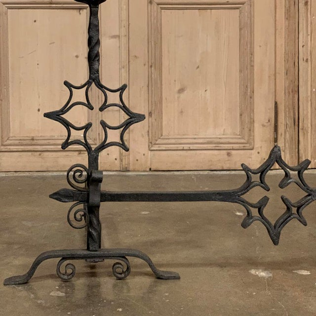 Metal 18th Century Grand Wrought Iron Andirons For Sale - Image 7 of 13