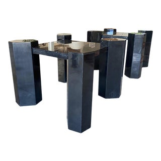 1980s Postmodern Black Marble End Tables - a Pair For Sale