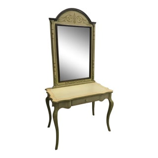 Vintage French Country Style Pistachio Green Desk + Mirror Set by Garcia - 2 Pieces For Sale