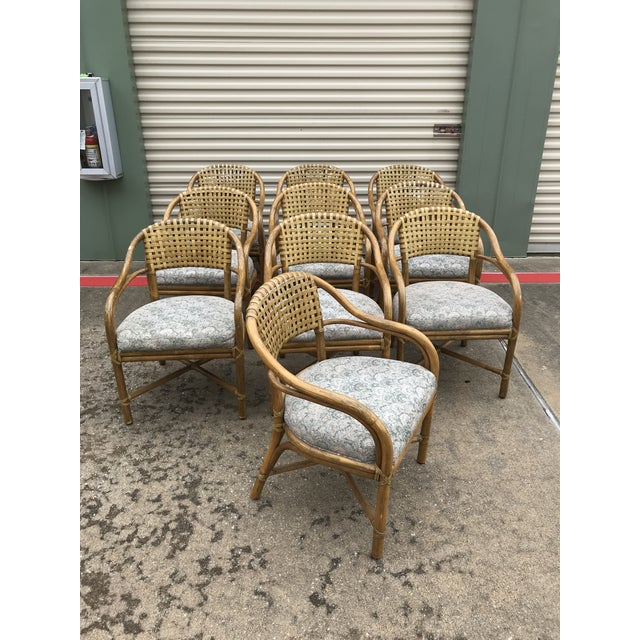 1970s Vintage McGuire Rattan and Leather Dining Chairs- Set of 10 For Sale - Image 12 of 12