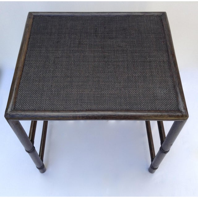Animal Skin McGuire Leather Strapped Rattan & Cane Side Table For Sale - Image 7 of 11