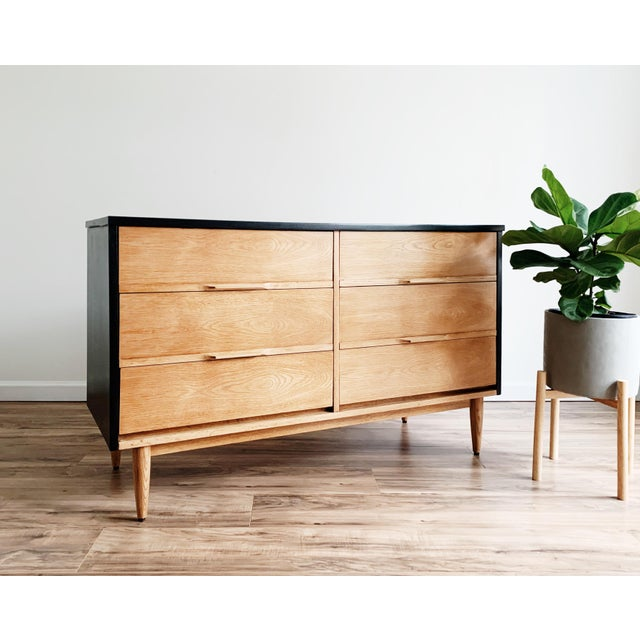 Black Mid Century Modern Harmony House Black + Natural Wood Dresser For Sale - Image 8 of 11