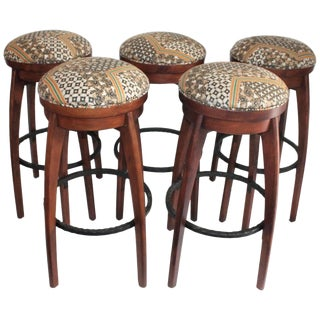 Midcentury Bar Stools / Set of Five For Sale