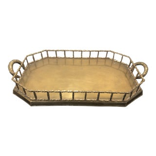 Vintage Brass Faux Bamboo Gallery Tray For Sale