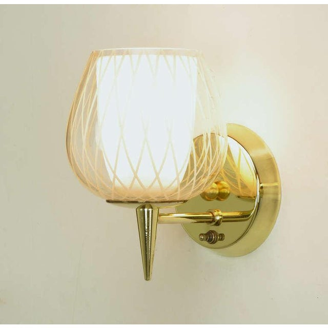 White Pair of Gerald Thurston for Lightolier Etched Glass and Brass Sconces For Sale - Image 8 of 11