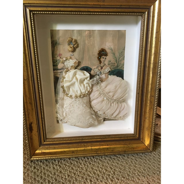 Lovely fashion diorama of a 19th century French fashion illustration with handmade fabric dresses. The original Victorian...
