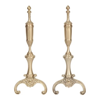 1940s Vintage French Neoclassical Brass Andirons - a Pair For Sale