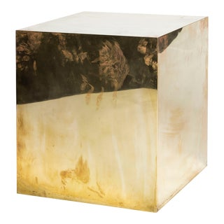 Modern Polished Brass Cube Side Table For Sale