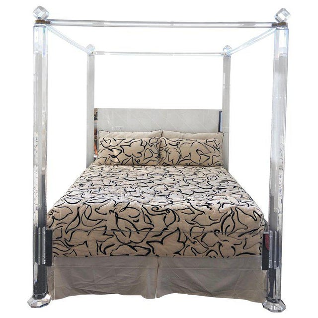 Clear Lucite and Brass King Size Canopy Bed For Sale In Palm Springs - Image 6 of 6