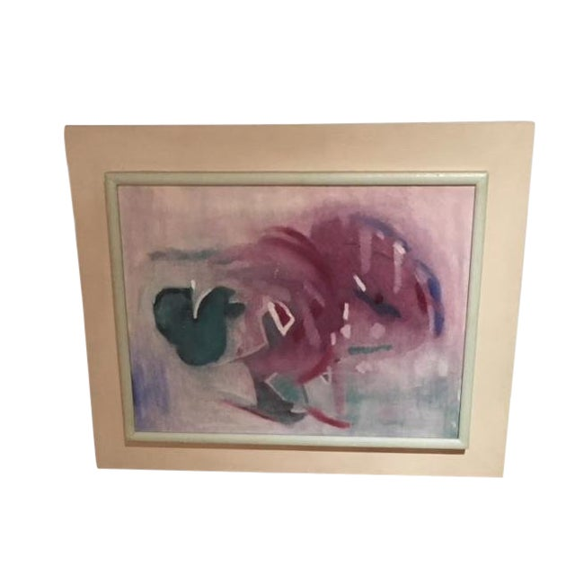 Vintage 1950's Abstract Acrylic Painting in Original Frame For Sale