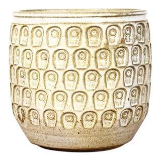 Danish Modern White Glaze Keyhole Pattern Ceramic Stoneware Planter For Sale