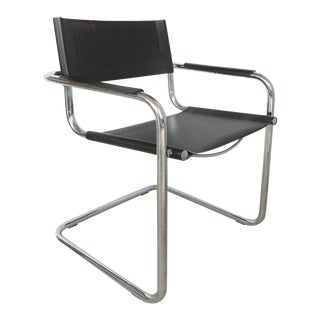 Italian Tubular Chrome and Leather Dining Chairs in the Style of Marcel Breuer