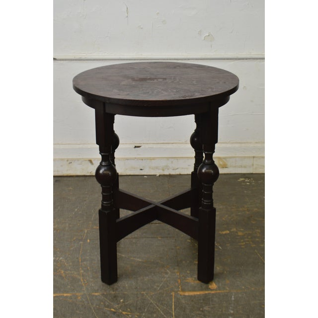 Arts & Crafts Arts & Crafts Style Antique Round Oak Drinks Table Stickley Era For Sale - Image 3 of 13