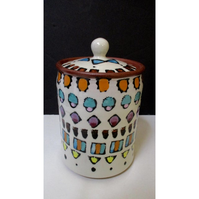 Hand Painted Italian Ceramic Canisters - Set of 4 For Sale - Image 10 of 11