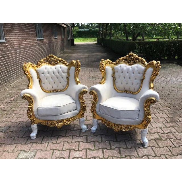 French Louis XVI Style Chairs - A Pair For Sale - Image 5 of 6