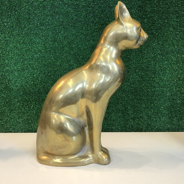 1970s Large Brass Cat Figure For Sale - Image 5 of 8