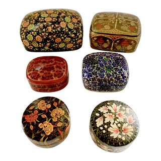 Vintage Kashmir Lacquer Floral Hand-Painted Trinket Box Paper Mache - 6 Pieces For Sale