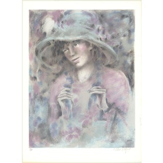 "COLETTE DARFEUIL Colette SIGNED 29.75"" x 22"" Lithograph Multicolor, Pastel For Sale"