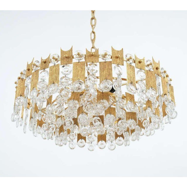 """Palwa Delicate 20"""" Palwa Glass and Brass Chandelier, Lamp 1960 For Sale - Image 4 of 8"""
