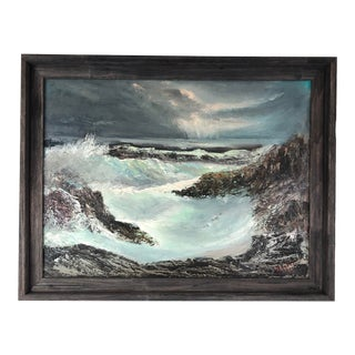 1978 Framed Oil on Board Stormy Sea Signed Rieber For Sale