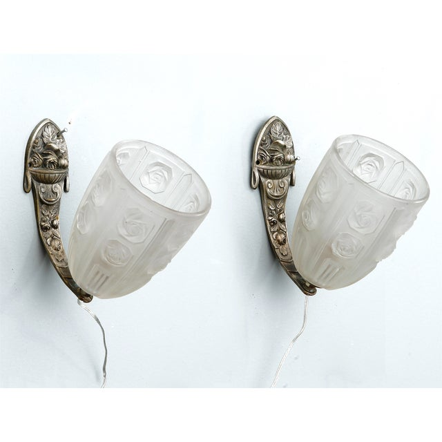 French Art Deco Sconces with Glass Shades - Pair - Image 2 of 7