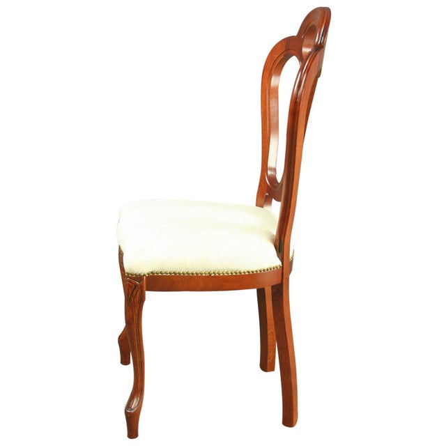 Victorian Italian Ivory Damask Dining Chair For Sale - Image 3 of 8
