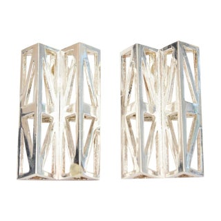 French Claude Montana Geometric and Sculptural Silver Plate Runway Earrings - a Pair For Sale