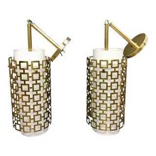 Cylinder Pendant Light With Brass Fretwork - a Pair For Sale