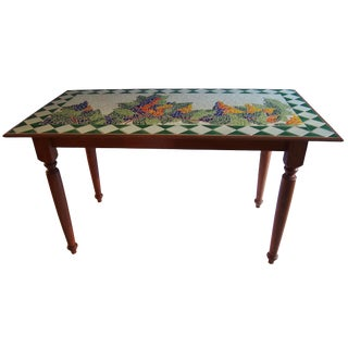 Tuscan Style Custom Vineyard Mosaic Kitchen Table For Sale