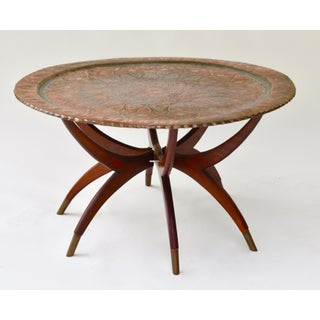 Large Antique Copper Tray Table on Midcentury Folding Base Preview