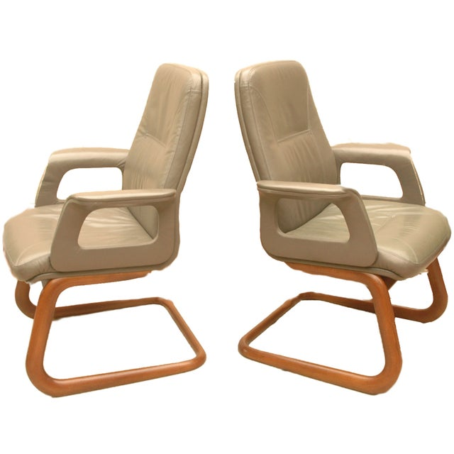 Modern Leather German Chairs - A Pair - Image 1 of 6