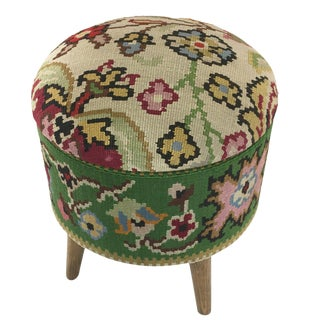 Floral Kilim Footstool | Kilim Pouf For Sale