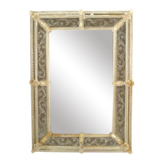 Italian Venetian Murano Etched Wall Mirror For Sale
