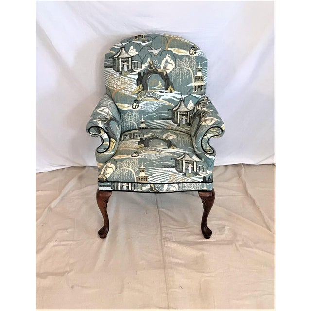 Teal Mid Century Robert Allen Chinoiserie Toile Upholstered Queen Anne Armchair For Sale - Image 8 of 8