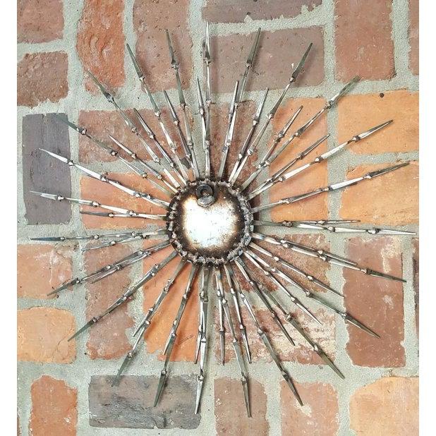 Welded Metal Nail & Bronze Starburst Wall Art | Chairish